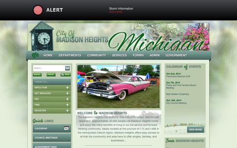 Screenshot of Home Page madison-heights.org - The City of Madison Heights - captured Oct. 2, 2014