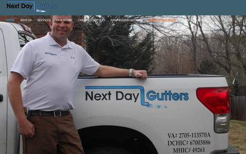 Screenshot of Home Page nextdaygutters.com - Gutter Installation Maryland, Virginia and Washington D.C. - captured Jan. 11, 2016