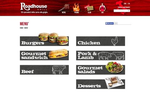 Screenshot of Menu Page roadhousegrill.it - MENU' - Roadhouse Grill - captured Sept. 25, 2014