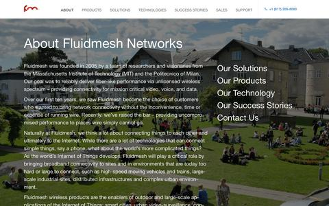 Screenshot of About Page fluidmesh.com - About - Fluidmesh - captured Feb. 10, 2016
