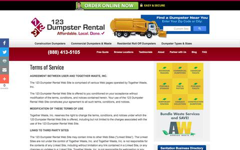 Screenshot of Terms Page 123dumpsterrental.com - Terms of Service | Commercial, Residential Roll Off, Construction Demolition Dumpsters | Pool & Building Demolition | 123 Dumpster Rental - captured April 2, 2018