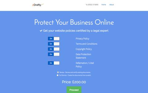 Screenshot of Home Page edraftly.com - eDraftly   Protect Your Business With Certified Policies - captured Sept. 10, 2015