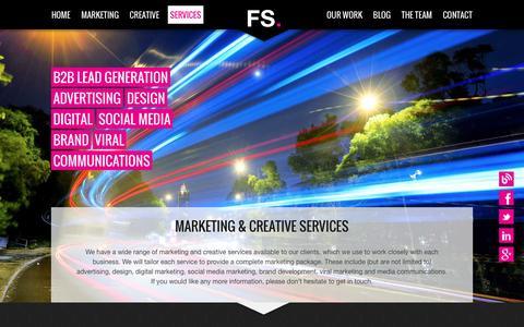 Screenshot of Services Page flyingsaucercreative.com - Marketing Services, Creative Services, Design, Digital, Brand - captured Nov. 25, 2016