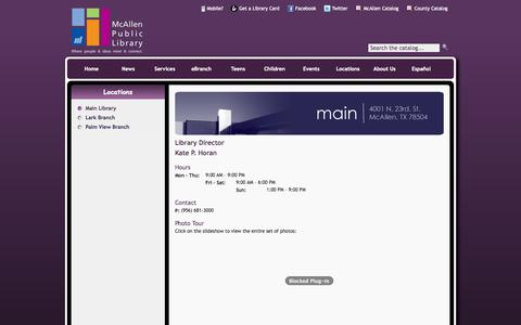 Screenshot of Locations Page mcallenlibrary.net - McAllen Public Library - Main Library - captured Nov. 3, 2014