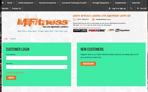 Screenshot of Login Page mifitness.co.za - Account – MiFitness | Gym Equipment Suppliers - captured Oct. 27, 2014