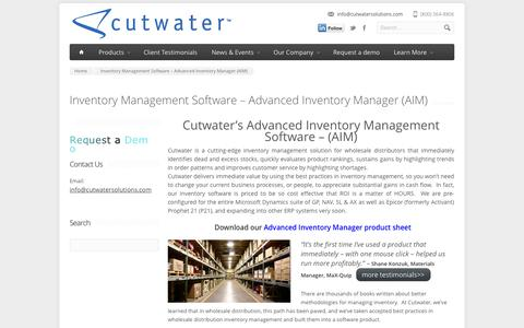 Screenshot of Products Page cutwatersolutions.com - Cutwater's Advanced Inventory Manager- Inventory Management Software - captured Sept. 30, 2014