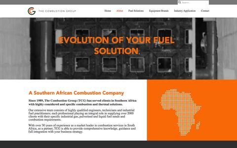 Screenshot of About Page thecombustiongroup.co.za - South African Combustion Company | The Combustion Group - captured Jan. 30, 2016