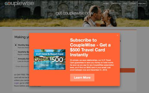 Screenshot of Signup Page Pricing Page couplewise.com - get couplewise now – CoupleWise - captured Nov. 4, 2018