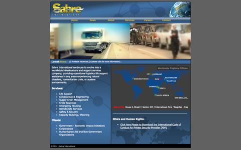 Screenshot of Home Page securitybysabre.com - Home | Sabre International - captured Oct. 4, 2014