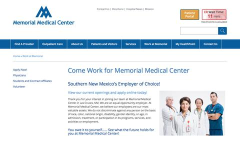 Screenshot of Jobs Page mmclc.org - Work for Memorial Medical Center | Memorial Medical Center - captured July 2, 2018