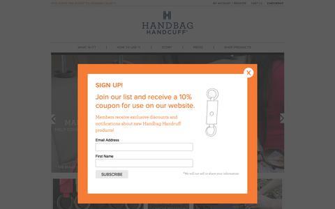 Screenshot of Home Page handbaghandcuff.com - Handbag Handcuff - Ultimate Handbag Accessory - captured Oct. 21, 2018