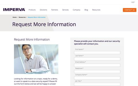 Screenshot of Contact Page imperva.com - Request More Information | Imperva, Inc. - captured Sept. 26, 2018