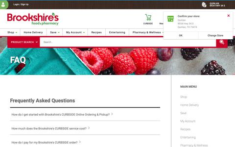 Screenshot of FAQ Page brookshires.com - FAQ   Brookshire's Food & Pharmacy - captured Dec. 12, 2018