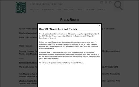 Screenshot of Press Page ceps.eu - Press Room | Centre for European Policy Studies - captured Oct. 4, 2016
