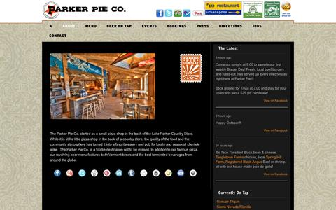Screenshot of About Page parkerpie.com - About – The Parker Pie Co. - captured Oct. 1, 2014