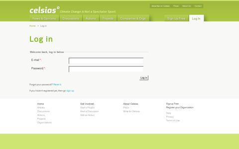 Screenshot of Login Page celsias.com - Log in | Use Celsias.com - reduce global °Celsius - captured July 18, 2014