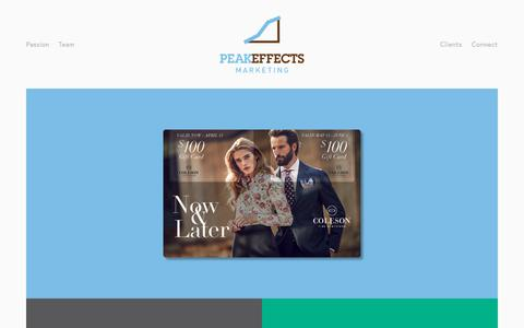Screenshot of Home Page peakeffectsmarketing.com - Peak Effects Marketing - captured July 18, 2017