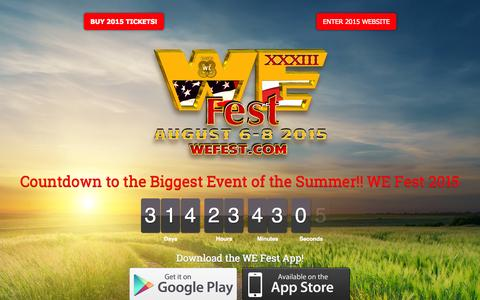 Screenshot of Home Page wefest.com - Biggest Event of the Summer! - WE Fest | Minnesota Country Music Festival - captured Sept. 25, 2014