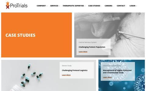 Screenshot of Case Studies Page protrials.com - Case Studies - Protrials - captured Sept. 29, 2018