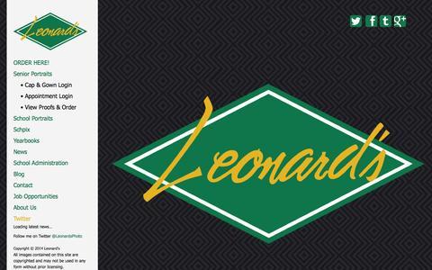 Screenshot of Home Page leonards.com - Leonard's - Photography | Printing | Publishing • 800-215-4852 - captured Sept. 19, 2014