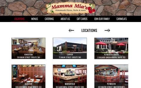 Screenshot of Locations Page mammamias.net - South Shore MA Italian Restaurant and Catering - captured Oct. 17, 2016