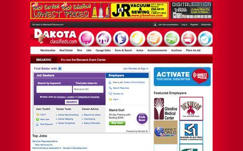 Screenshot of Jobs Page bismarcktribune.com - Jobs : Dakota Classifieds - captured Sept. 24, 2014