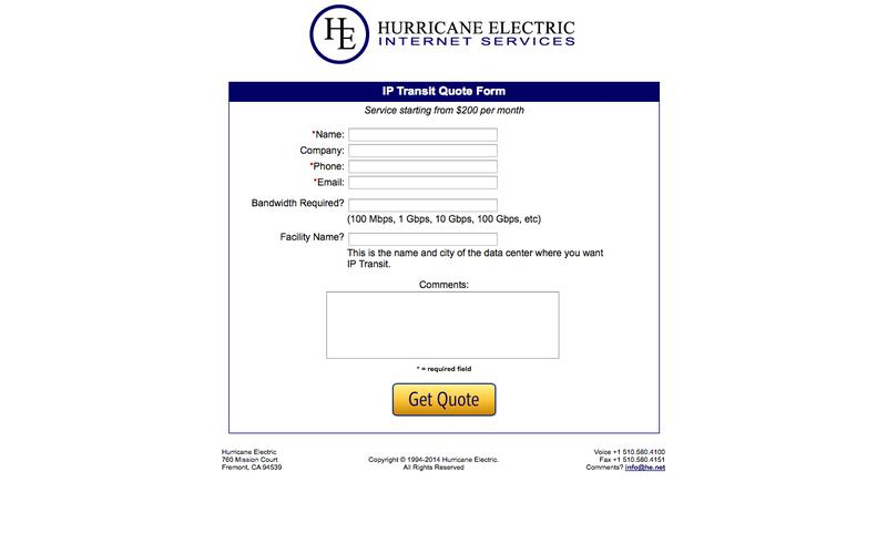 IP Transit Quote Form - Hurricane Electric