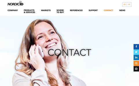 Screenshot of Contact Page nordicid.com - Nordic ID - Contact - captured Aug. 14, 2016