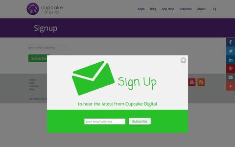 Screenshot of Signup Page cupcakedigital.com - Signup - - captured Sept. 17, 2017
