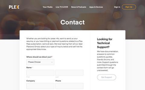 Screenshot of Contact Page plex.tv - Contact | Plex - captured June 1, 2018