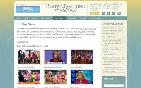 Screenshot of Press Page positiveparentingsolutions.com - Positive Parenting Solutions: In The News - captured Oct. 10, 2014