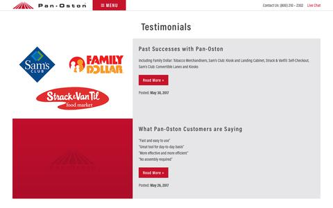Screenshot of Testimonials Page panoston.com - Customer Testimonials - Pan-Oston - captured July 15, 2018