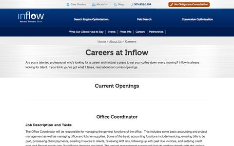 Screenshot of Jobs Page goinflow.com - Check out Open Jobs at Inflow - captured Sept. 23, 2014