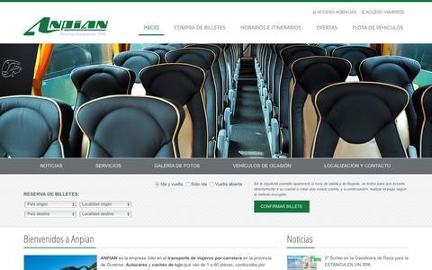 Screenshot of Home Page anpian.com - ANPIAN - Transporte internacional de viajeros y alquiler de autobuses - captured Oct. 18, 2015