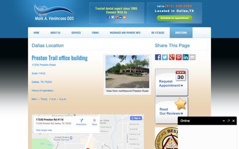 Screenshot of Contact Page Maps & Directions Page venincasadental.com - Dallas Location | Venincasa Dental | Dallas Cosmetic Dentistry - captured Oct. 2, 2018