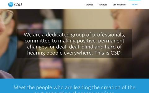 Screenshot of About Page c-s-d.org - About - Communication Service for the Deaf (CSD) - captured July 17, 2015