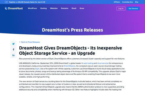 Screenshot of Press Page dreamhost.com - DreamHost Gives DreamObjects - Its Inexpensive Object Storage Service - an Upgrade  – DreamHost - captured Feb. 21, 2020
