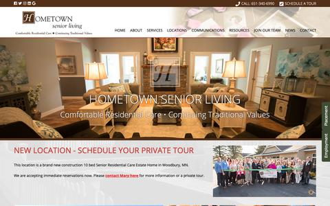 Screenshot of Home Page hometownseniorliving.com - Senior Assisted Living Care Facilities | Hometown Senior Living - captured Nov. 5, 2018