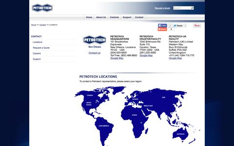Screenshot of Contact Page Locations Page petrotechinc.com - Locations | Petrotech, Inc. - captured Oct. 22, 2014