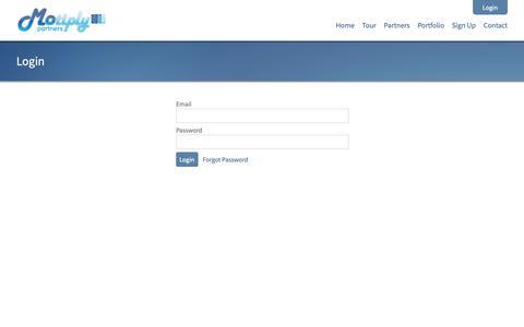Screenshot of Login Page motiply.com - App & Mobile Website Business Opportunity   Apps   Mobile Websites - captured Dec. 7, 2018