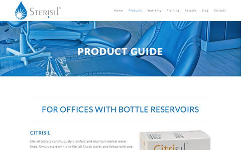 Screenshot of Products Page sterisil.com - Product Guide Ń Sterisil - captured Jan. 12, 2016