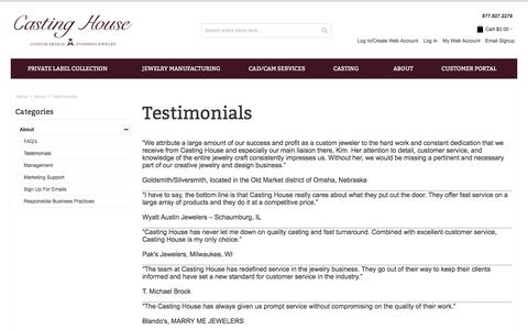 Screenshot of Testimonials Page castinghouse.com - Custom Jewelry Testimonials | Casting House Jewelers - captured Sept. 26, 2018