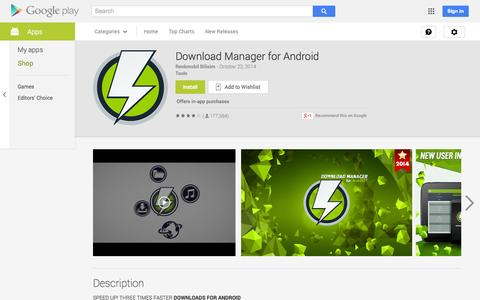 Screenshot of Android App Page google.com - Download Manager for Android - Android Apps on Google Play - captured Oct. 30, 2014