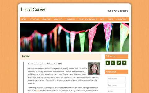Screenshot of Testimonials Page lizzie-carver.co.uk - Praise | Lizzie Carver | Whitehill, Hampshire - captured Dec. 12, 2015
