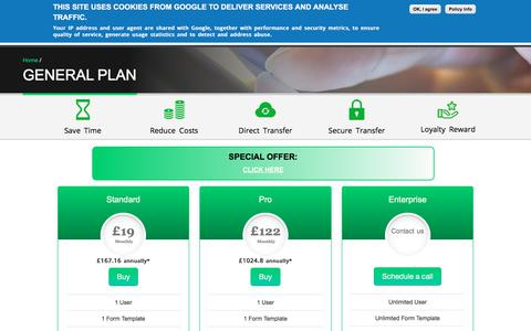 Screenshot of Pricing Page signtechforms.com - General Plan | Paperless Forms - captured Sept. 20, 2018