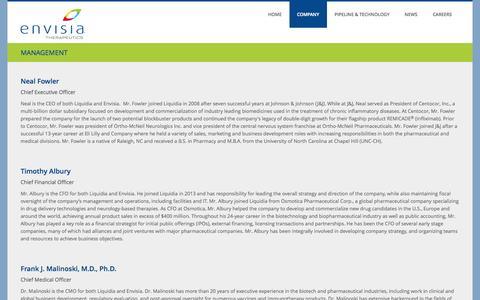 Screenshot of Team Page envisiatherapeutics.com - MANAGEMENT | Envisia - captured Nov. 5, 2014