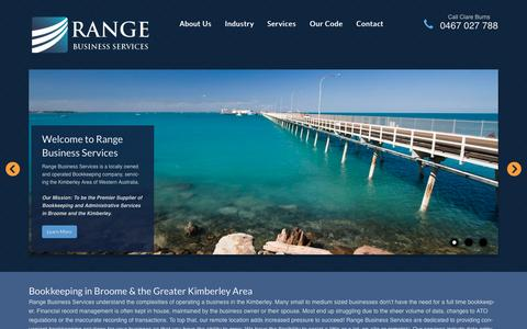 Screenshot of Home Page rangeservices.com.au - Range Business Services - Bookkeeping Broome Kimberley - captured Oct. 6, 2014