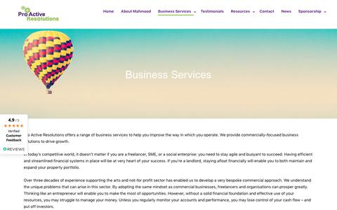Screenshot of Services Page proactiveresolutions.com - Business Services – Pro Active Resolutions - Accountants - captured July 22, 2018