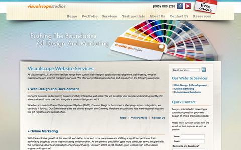 Screenshot of Services Page visualscope.com - Web Design, SEO, Ecommerce Services | Visualscope LLC - captured Sept. 25, 2014