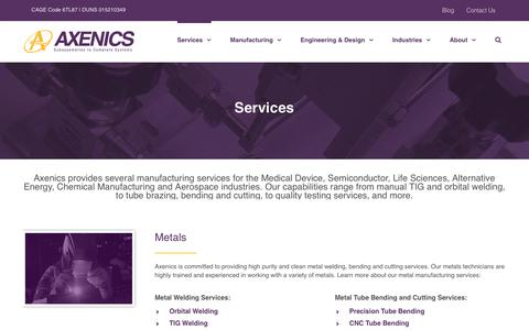 Screenshot of Services Page axenics.com - Manufacturing Services   Industry Specific Manufacturing Services   Axenics - captured July 31, 2018